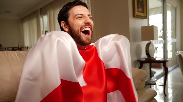 England Fan Celebrating with England Flag video