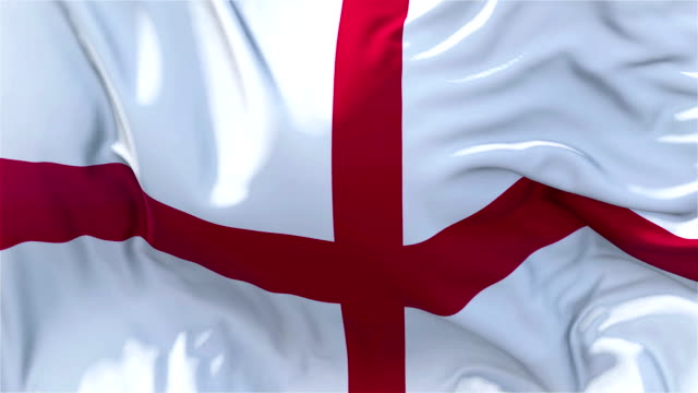 vídeos de stock e filmes b-roll de england flag in slow motion classic flag smooth blowing in the wind on a windy day rising sun 4k continuous seamless loop background - democracy illustration