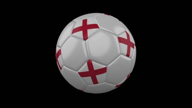 England flag on a ball rotates on a transparent background, alpha channel loop