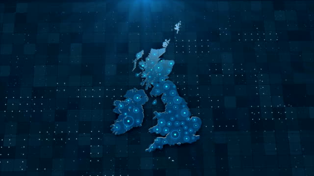 4K England Map Links 4K with full background details Global Connections, Business, Internet, Country, United Kingdom, United Kingdom Map uk map stock videos & royalty-free footage