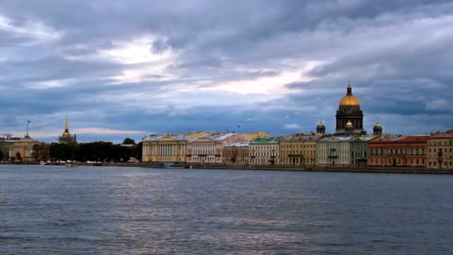 English Embankment English Embankment at evening. St Petersburg, Russia. russian ethnicity stock videos & royalty-free footage