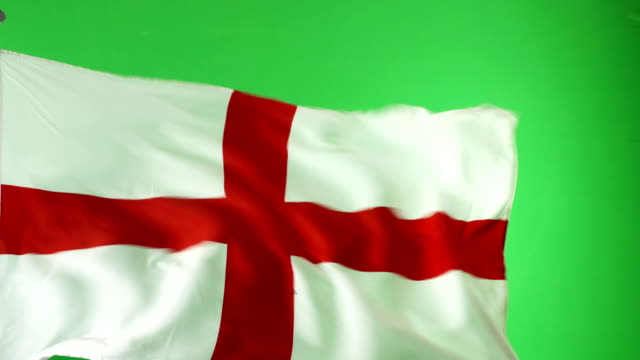 4K: English England Flag on green screen, Real video, not CGI video