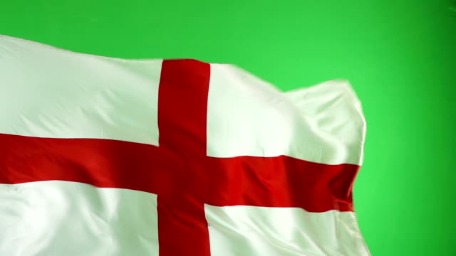 English England Flag on green screen, Super Slow Motion video