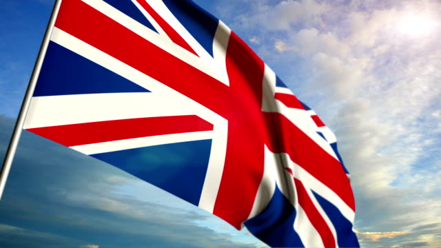 English flag floating on sunset sky background video