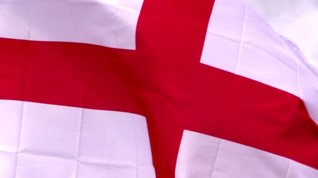 English flag in the wind in sunlight video