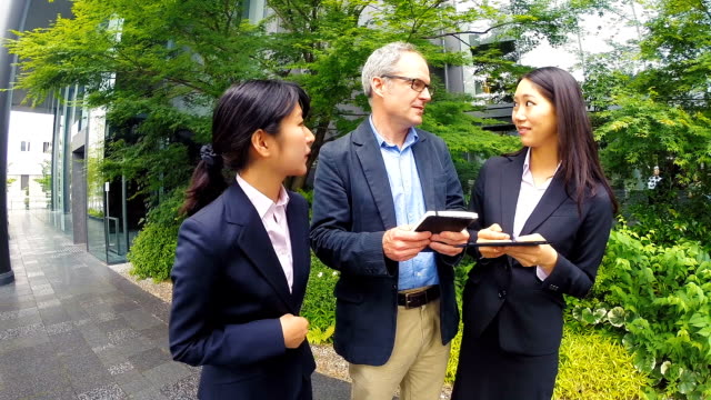 English Man Meeting With Japanese Corporate Professional Business Women video