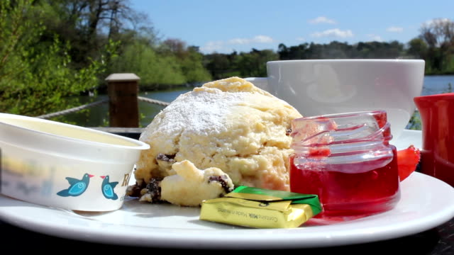 English Scone with Jam Cream and a Cup Of Tea video