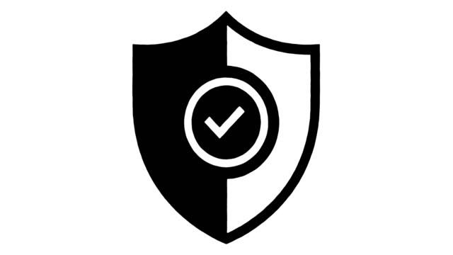 vídeos y material grabado en eventos de stock de mejora de la calidad y la línea de seguridad dibujo & ink splatter animación con alfa - shield