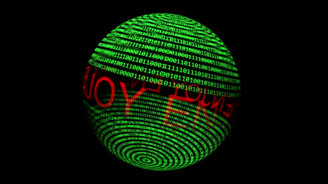 回転球上のテキストとバイナリデータをお楽しみください - 文字記号点の映像素材/bロール