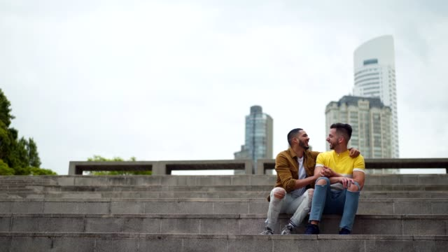 enjoying happy moments together - coppia gay video stock e b–roll