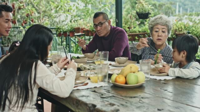 vídeos de stock e filmes b-roll de enjoying lunch at home - cultura chinesa