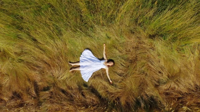 Enjoying nature Above view of slowly spinning aerial footage of a beautiful young woman with a long white dress lying peacefully in the long grass and relaxing. lying down stock videos & royalty-free footage