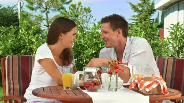 HD DOLLY: Enjoying Romantic Breakfast video