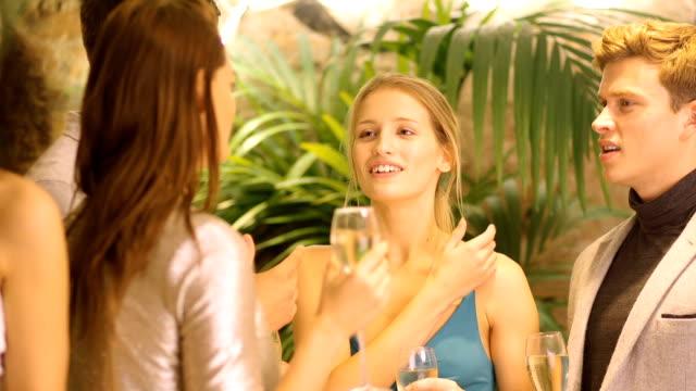 Profitant de socialisation plus de boissons dans un Bar - Vidéo