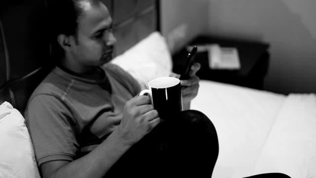 Enjoying tea at night