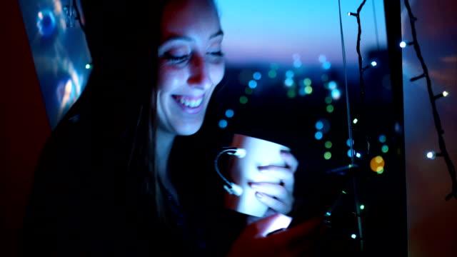 Enjoying the evening on Christmas atmosphere video