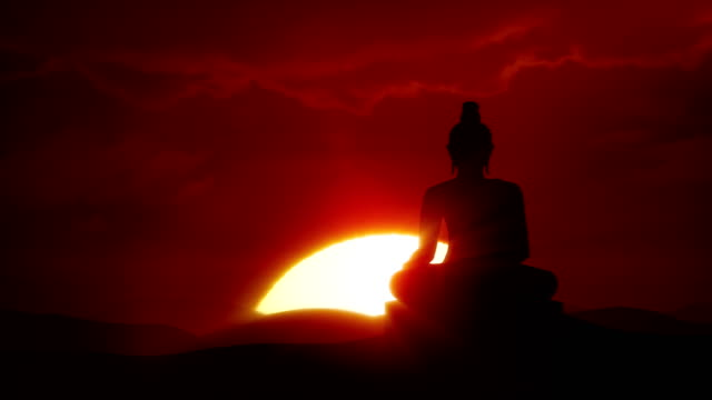 Enlightenment - Sun rises over Buddha