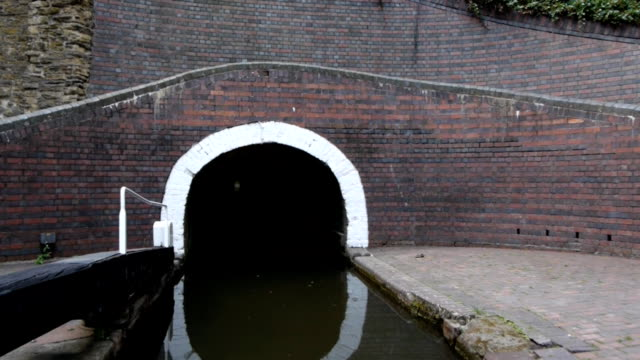 Entering a canal tunnel. video