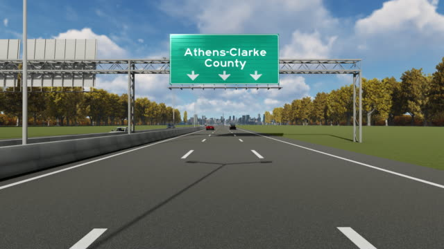 stockvideo's en b-roll-footage met binnenkomst in athene-clarke county city voorraad video - athens