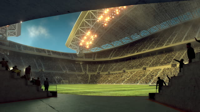 Entering soccer stadium from players zone video
