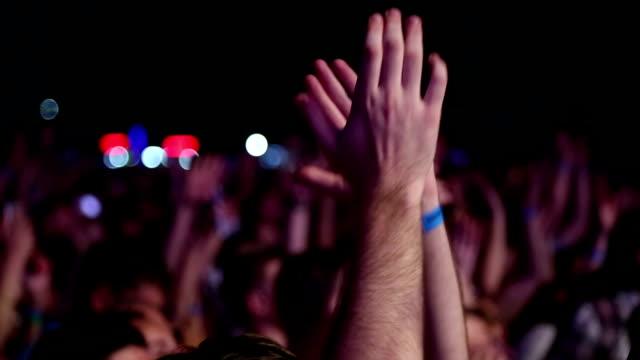 enthusiastic crowd at a rock concert - adulazione video stock e b–roll