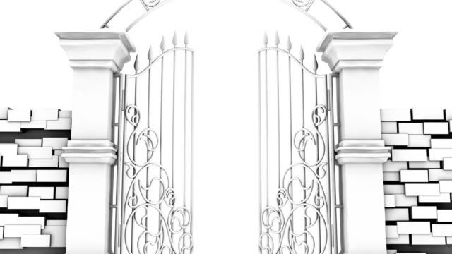 Entrance in white gates on white background, 3D animation video