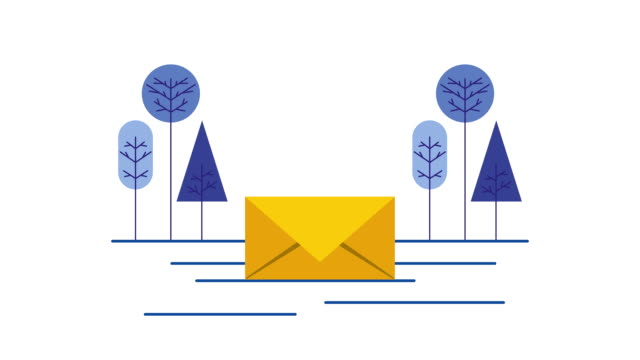 envelope mail with trees forest scene