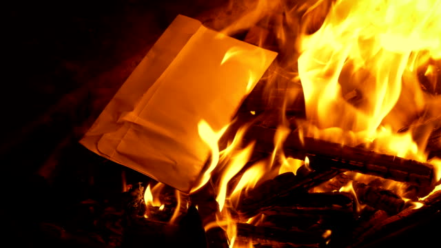 Envelope Put In Fire And Burns video