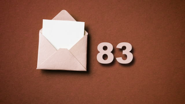 Envelope with incoming mail counter, stop motion, animation.