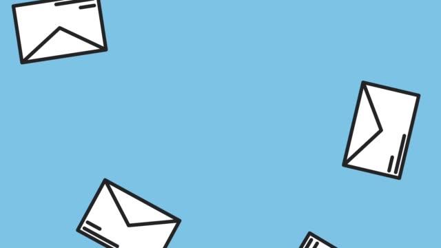 vídeos de stock e filmes b-roll de envelopes falling down hd animation - carta documento
