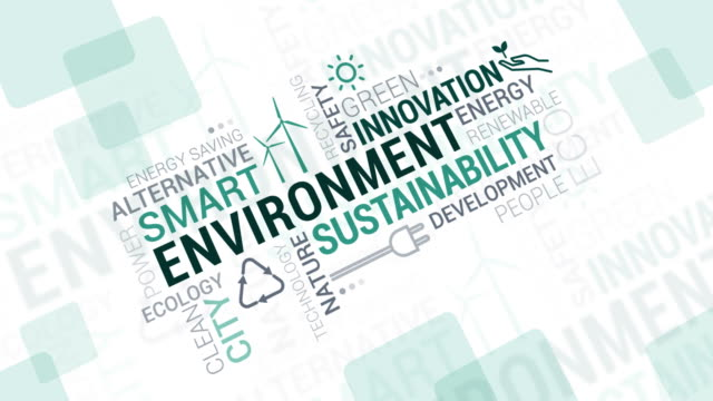environment and sustainability tag cloud - sustainability video stock e b–roll