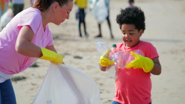 environmental beach cleanup - sustainability video stock e b–roll