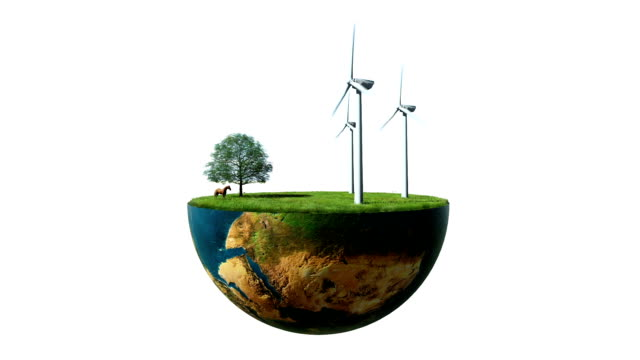 Environmental concept, Earth globe holding wind turbines against white video