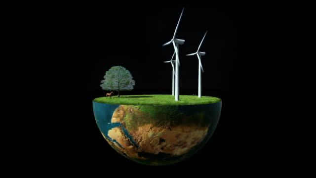 Environmental concept, Earth globe holding wind turbines, Luma Mate attached