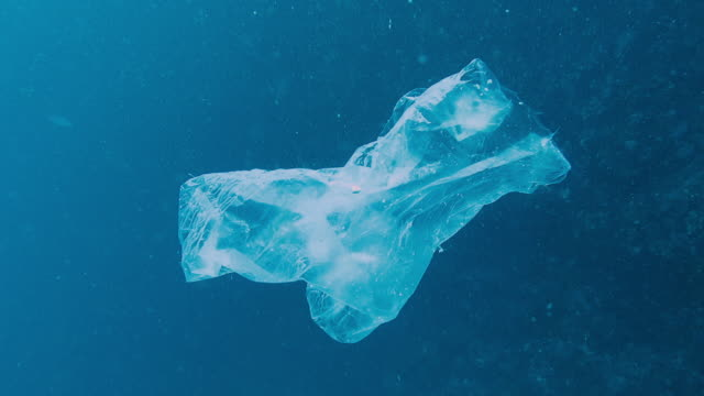 Environmental Issue: Underwater footage of Plastic in the Ocean One Plastic bag floats in the Ocean blue.  Seemingly harmless, it represent the massive environmental issue that is Global Ocean Pollution.  Plastic in the Ocean is said to be one of the largest threats to our ocean ecosystems.  Over 8 million tonnes is dumped in the Ocean every year.  Discarded, abandoned or obsolete items which become dangerous garbage, is responsible for the deaths of huge amounts of Marine Life every year, through entanglement and consumption.  The location here is Phi Phi Islands, Krabi, Thailand.  I later removed the trash. bottle stock videos & royalty-free footage