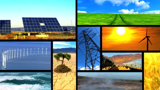 Environmental montage of  clean renewable sources Montage collection of images showing environmental damage & clean renewable & sustainable energy sources homegrown produce stock videos & royalty-free footage