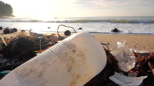 vídeos de stock, filmes e b-roll de poluição ambiental, frasco plástico na praia. - flutuando na água