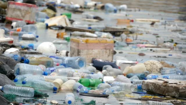 vídeos de stock, filmes e b-roll de poluição ambiental. garrafas de plástico, sacos, lixo no rio ou lago no parque nacional. lixo e poluição, flutuando na água. close-up - flutuando na água
