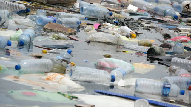 Environmental pollution. Plastic bottles, bags, trash in river or lake at national park. Rubbish and pollution floating in water. Close up
