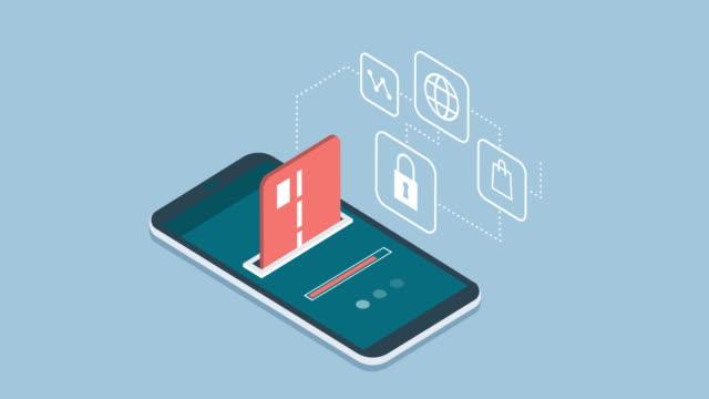 vídeos de stock e filmes b-roll de e-payments and transactions on mobile devices - shop icon