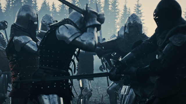 Epic Armies of Medieval Knights on Battlefield Clash, Armored Warriors Fighting Swords. Bloody War, Battle, Invasion. Dramatic Historical Reenactment. Cinematic Blue Light, Slow Motion, Medium