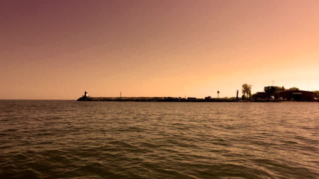 Epic Cinematic shot of a Lake Erie inlet at sunrise video