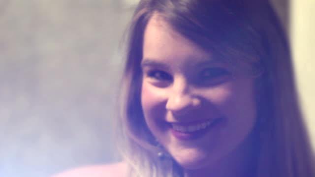Epic Cinematic shot of blonde brunette smiling at camera – Video