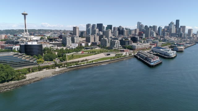 Epic Cityscape Aerial of Sunny Downtown Seattle, Washington with Scenic Waterfront View of City Skyline
