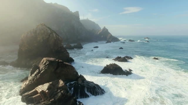 epic cliffs and ocean waves view - cliffs stock videos & royalty-free footage