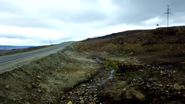 epic shoot of polluted area near the new road at northern territories of russia - penisola video stock e b–roll