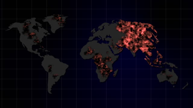epidemic corona virus disease (covid-19) on map global - geografia fisica video stock e b–roll