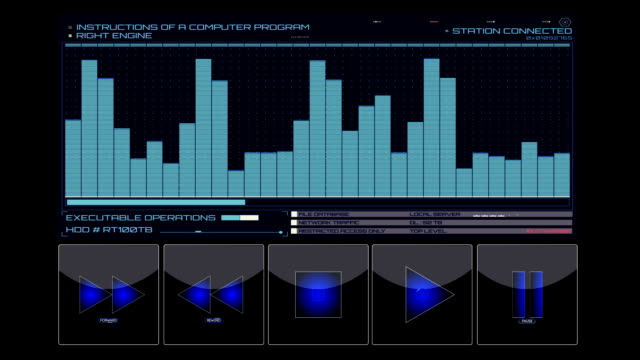 Equalizer with control buttons hud background video
