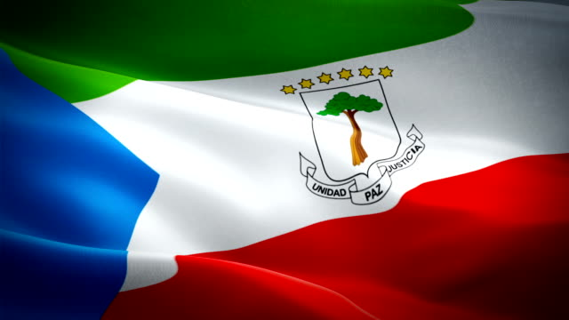 equatorial guinea flag motion loop video waving in wind. realistic equatorial guinea flag background. equatorial guinea flag looping closeup 1080p full hd 1920x1080 footage. equatorial guinea africa country flags footage video for film,news - kiss filmów i materiałów b-roll