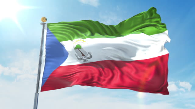 Equatorial Guinea flag waving in the wind against deep blue sky. National theme, international concept. 3D Render Seamless Loop 4K Equatorial Guinea flag waving in the wind against deep blue sky. National theme, international concept. 3D Render Seamless Loop 4K allegory painting stock videos & royalty-free footage
